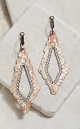 Pink Panache Bronze Open Diamond Python Print Earrings