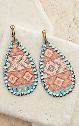 Pink Panache Aztec with Crystals Teardrop Dangle Earrings