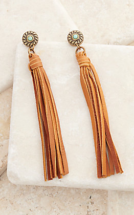 Pink Panache Bronze with Turquoise Stone and Saddle Tan Leather Tassel Earrings