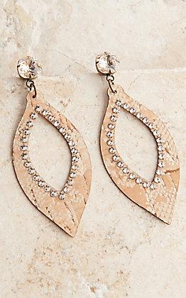 Pink Panache Bronze Metallic Python Print Leather Teardrop with Crystals Earring