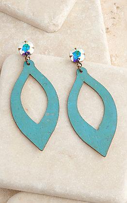 Pink Panache Turquoise Cork Teardrop with Crystals Post Earrings