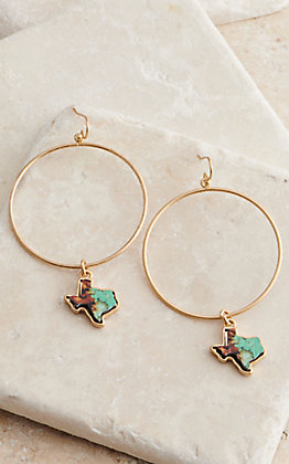 Pink Panache Bronze Circle with Turquoise Texas Dangle Earrings