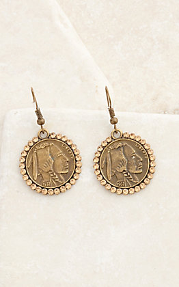 Pink Panache Bronze Indian and Buffalo Coin with Amber Crystals Dangle Earrings