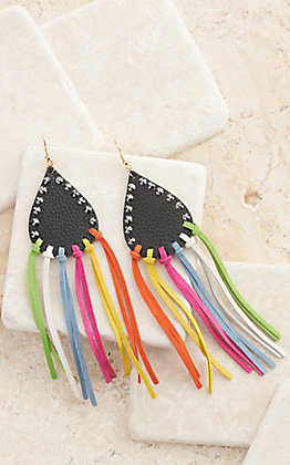 Pink Panache Black Leather with Multi-Colored Fringe and Crystals Earrings