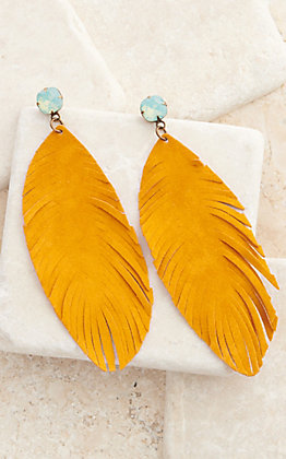 Pink Panache Mustard Leather Feathers with Opal Post Earrings