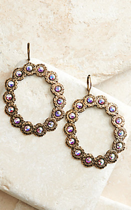 Pink Panache Bronze Flowers with Pink Iridescent Crystals Open Circle Dangle Earrings