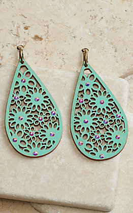 Pink Panache Turquoise Wood with Flower Cutouts and Iridescent Crystals Teardrop Earrings