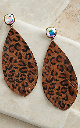 Pink Panache Dark Leopard Leather Feather with Iridescent Stone Earrings