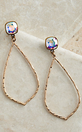 Pink Panache Bronze Hammered Teardrop with Iridescent Crystal Posts Earrings