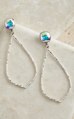 Pink Panache Silver Hammered Teardrop with Iridescent Crystal Posts Earrings