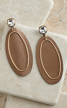 Pink Panache Bronze Leather with Gold Wire and Crystal Post Oval Earrings