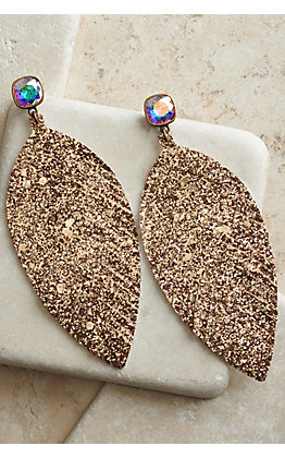 Pink Panache Gold Glitter Leather Feather Earrings