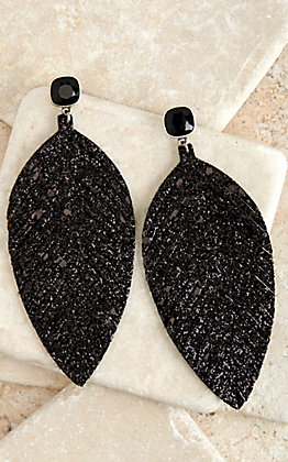 Pink Panache Black Glitter Leather Feather Earrings