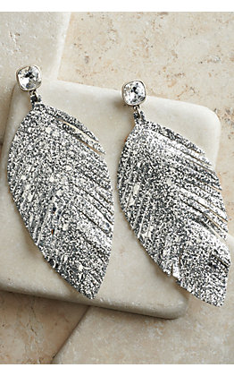 Pink Panache Silver Glitter Leather Feather Earrings