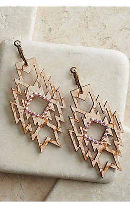 Pink Panache Pearl White Crackle Wood with Iridescent Crystals Aztec Dangle Earrings