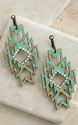 Pink Panache Turquoise Crackle Wood with Iridescent Crystals Aztec Dangle Earrings