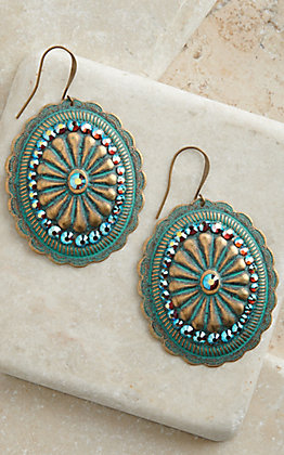 Pink Panache Bronze and Turquoise with Crystals Concho Earrings