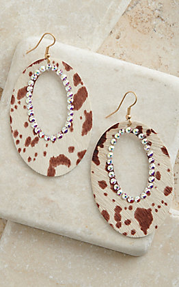 Pink Panache Ivory Spotted Hair with Pink Crystals Leather Open Oval Earrings