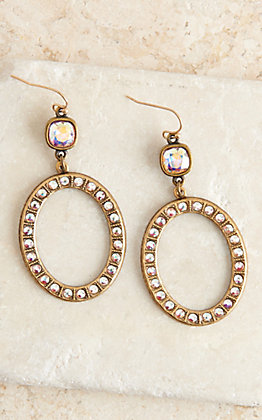 Pink Panache Bronze and Clear Crystal Open Oval Dangle Earrings