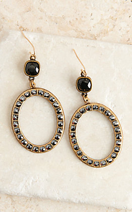 Pink Panache Bronze and Black Crystal Open Oval Dangle Earrings