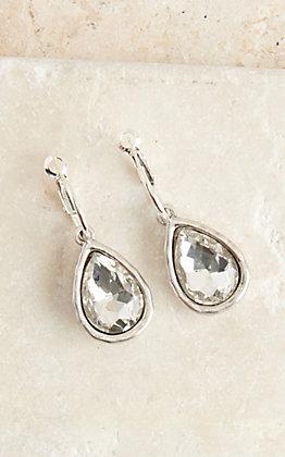 Pink Panache Silver Teardrop Clear Crystal Stone Dangle Mini Hoop Earrings