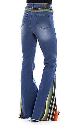 L&B Women's Serape Light Wash Flare Jeans