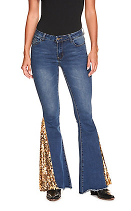 Lucky & Blessed Women's Medium Wash with Gold & Black Reverse Sequin Flare Leg Jeans