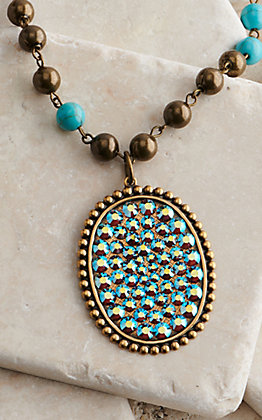 Pink Panache Turquoise Crystal Oval Pendant Necklace