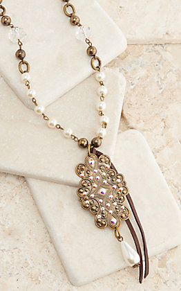 Pink Panache Bronze Retro Swirl with Pearls and Tassel Necklace