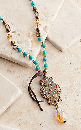 Pink Panache Bronze Retro Swirl with Turquoise and Tassel Necklace