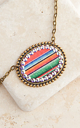 Pink Panache Bronze Sideways Medium Oval with Serape Inlay and Crystals Necklace