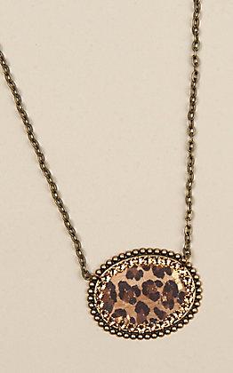 Pink Panache Oval Rhinestone Pendant Bronze Necklace