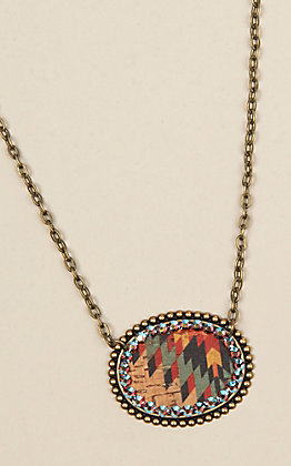 Pink Panache Bronze Aztec Oval Necklace
