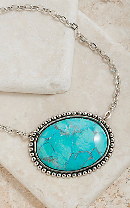 Pink Panache Silver Sideways Oval With Turquoise Stone Necklace