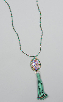 Pink Panache Large Turquoise Beaded Tassel Necklace