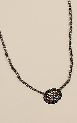 Pink Panache Matte Black and Rose Gold Crystal Necklace