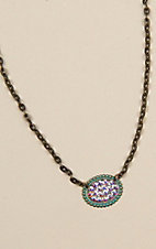 Pink Panache Bronze and Turquoise Crystal Necklace