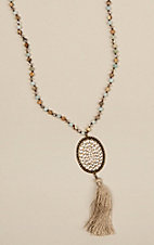 Pink Panache Bronze Oval and Tan Tassel Necklace