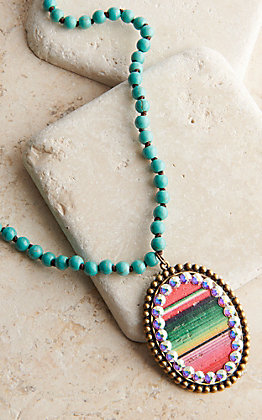 Pink Panache Bronze Medium Oval with Serape Inlay and Crystals Turquoise Beaded Necklace