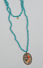 Pink Panache Turquoise Beads with Aztec Charm Necklace