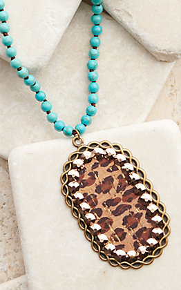 Pink Panache Bronze with Leopard Inlay and Crystals Turquoise Beaded Necklace