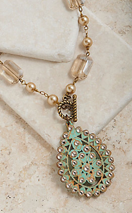 Pink Panache Bronze Champagne Pearl Beaded With Crackle Wood Teardrop Pendant Necklace