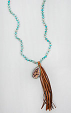 Pink Panache Turquoise Beads with Leopard Charm Necklace