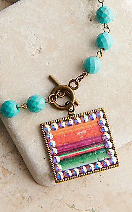 Pink Panache Bronze Medium Rectangle with Serape Inlay and Crystals Turquoise Beaded Necklace