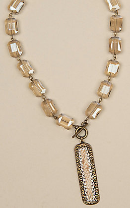 Pink Panache Bronze and Gold Python Crystal Beaded Necklace