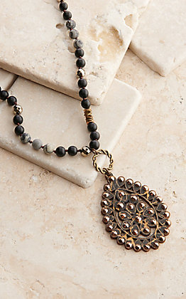Pink Panache Black Crackle Wood Teardrop with Rose Gold Crystals Beaded Necklace
