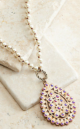 Pink Panache Pearl Beads with White Crackle Wood and Iridescent Crystals Pendant Necklace