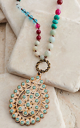 Pink Panache Multi Colored Beads with Wood and Crystals Pendant Necklace
