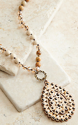 Pink Panache Tan Beads with White Crackle Wood and Bronze Crystals Pendant Necklace