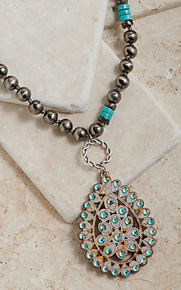 Pink Panache Silver Beaded With Turquoise Wood Crackle Teardrop Pendant Necklace
